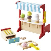 Wholesale Wooden Play Ice Cream - New Arrived Japan Ed.Inter 2 In1 Cash Register + Ice Cream Store Wooden Toys Pretend Play Baby Toys Birthday Gift