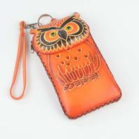 Wholesale Geniune Leather Handbag Women - Wholesale- LANVERA Brand Hot Sale Famous Design Owl Cute Coin Purse Geniune Leather Change Purse Lovely Girl Coin Pocket Small Handbag