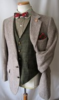 Wholesale Grey Blazers For Men - 2017 Vintage Tailored Made Grey herringbone Wool tweed tuxedos British style Mens suit slim fit Blazer wedding suits for men(suit+pant)