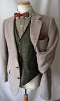 estilos de esmoquin gris al por mayor-2017 Vintage Hecho A Medida Hecho gris espiga de lana de lana tweed tuxedos traje de hombre de estilo británico slim fit Blazer trajes de boda para hombres (traje + pantalón)