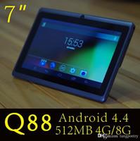 carregador de tablet de polegada android venda por atacado-7 polegada q88 tablet pc quad core allwinner a33 android 4.4 kitkat capacitivo 1.5 ghz ddr3 1 gb ram 8 gb rom dual câmera lanterna