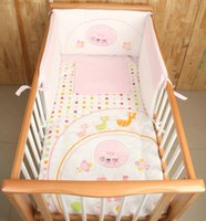 Wholesale Cot Set Pink - 4Pcs Cotton Baby Cot Bedding Set Newborn Cartoon Pink Cat Crib Bedding Quilt Pillow Cover Bumpers Sheet Cot Bed 120*70cm
