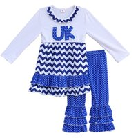 Wholesale Chevron Clothing Wholesale - Wholesale- New Design Girls Fall Winter Clothing UK Embroidery Chevron Dress Polka Dots Ruffle Pants Boutique Outfits Children Clothes F062