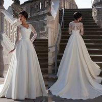 Wholesale Close Fitting Lace Wedding Dress - 2016 A word Shoulder Long Sleeved Close Fitting Lace Organza High-Waisted Show Thin Elegant Bridal Mermaid Wedding Dresses Party Dresses