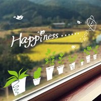 etiquetas da parede do potenciômetro da planta da flor venda por atacado-Mural Branco Pot Flores Decalques em parede linda planta verde Bonsai Wall Art Poster Glass Window Stickers Home Decor parede Border Art Paper