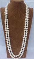 Wholesale necklace rows white pearl - CHARMING NATURAL 2 ROW 9-10MM WHITE AAA AKOYA SOUTH SEA PEARL NECKLACE 22 INCH 925 SILVER CLASP