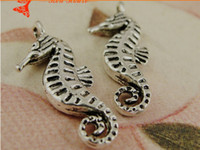 Wholesale Jewelry Accessories Nautical - A4029 9*22MM Handmade DIY silver seahorse pendant jewelry accessories nautical charms items, dangle tibetan silver plated charm China