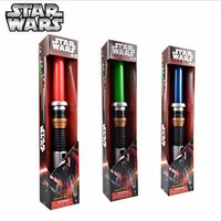 Wholesale Wholesale Lighted Kids Swords - Star Wars Lightsaber LED Light Saber Telescopic Cosplay Star Wars Weapons Sword with Light and Sounds PVC Action Figure Toy