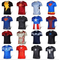 Wholesale Men S Batman Costume - 2016 Sports t-shirt Batman Spiderman Ironman Superman Captain America Winter soldier Marvel T shirt Avengers Costume Comics Superhero mens