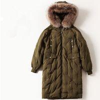 Wholesale Hair Duck - European and American women's wear 2017 The new winter Long sleeve Heavy hair collar hooded Warm down jacket