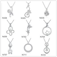Wholesale mixed crystal pendant 925 - Fashion women's gemstone sterling silver Pendant Necklace GTP5,butterfly round 925 silver Necklace(with chain) 10 pieces a lot mixed style