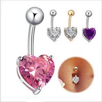 Wholesale Navel Studs - Mix color heart Crystal Stainless Steel Lip Body Piercing Rings I Shape Ear Stud Piercing Tragus Body Jewelry Unisex