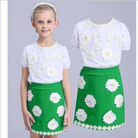 Wholesale Designer Shirts Children - Girls Dresses Summer Kids Clothes Brand Designer Children Clothing Set Vetement Fille Toddler Girl Little Daisy Embroidery T-shirt+skirt