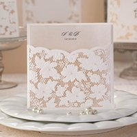 Wholesale Wedding Invitation Pocket Envelopes - Wholesale- Floral Lace Pocket wedding party invitation cards with envelope,Birthday Anniversary engagement Invitations 100sets