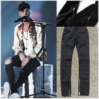 Wholesale Best Softener - Best version 2016 zippers skinny slim fit mens black cotton Denim jeans Knee hole pants Destroyed trousers
