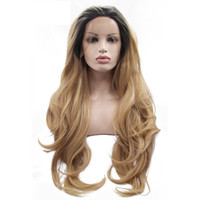 Wholesale masquerade wigs - Heat Resistant Hair Wig 150% Density Cosplay Hand Tied Masquerade Daily Makeup Synthetic Lace Front Wig with Baby Hair