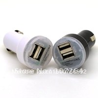 Gros-double port USB Car Power Adapter Chargeur pour New iPad2 3 iPhone4 4S iPod MP3 / 4 2 Couleur Blanc Noir 10PCS / LOT B425 QZ4E gratuit