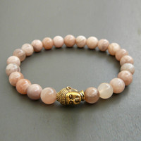 Wholesale SN1150 New Arrival Bracelet Sunstone Gold Buddha Bracelet High Quality Natural Stone Jewelry Women s Yoga Gift