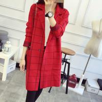 cardigans de lana roja al por mayor-Otoño Invierno Mujeres Cardigan Loose Estilo coreano de lana Prendas de abrigo de manga larga Rojo Gris y Negro colores