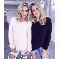 Wholesale Cute Crochet Sweaters - 2016 New Fashion Autumn Winter Soft Cute Candy Fur Sweaters Crochet Knit Tops Blouse Long Sleeve Pullover Coat Women Clothes One Size CK0913