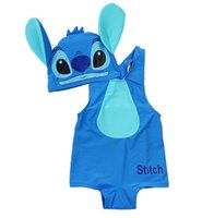 Wholesale Superman Baby Girl - Hot Summer Baby Boys Cartoon Swimwear Lilo Stitch Superman Batman One-piece Swimsuit With Cap Children Beach Bathing Suit