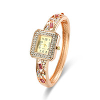 Wholesale Swarovski Banding Wholesale - Fashion Diamond Watches Luxury Swarovski Pave Stones Ladies Watches Bangle Band Jewlelry Buckle Bangle Watches For Women