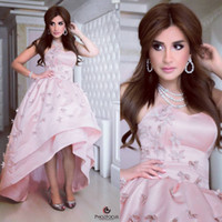 Wholesale Sweetheart Flowers - Pink Satin High Low Prom Dresses Gowns Sweetheart Off the Shoulder Dresses Long Evening 3D Flowers Arabic Formal Gowns