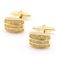 ingrosso oro gemelli d'epoca-2016 gemelli di forma placcati in oro moda con shinning partito Nuovi gemelli Vintage di alta qualità per gli uomini 980002