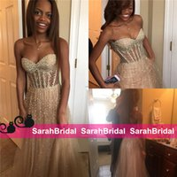 Wholesale Custom Made Prom Dresses Online - Sparkly Black Girl Fashion Prom Dresses 2016 Sheer See Through Exposed Boning Champagne Tulle Evening Pageant Gowns 2k16 for Sale Online
