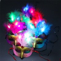 Wholesale Led Lights For Halloween Masks - LED Light Feather Party Mask Handmade Venetian Masquerade Dance Party Masks Novelty Enchanting Masks Christmas Halloween Feather Mask