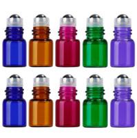 Wholesale Glass Perfume Bottles For Sale - 5 Colors 1000pcs  lot 1ml 2ml Mini Roll On Glass ESSENTIAL OIL BOTTLES Perfume Stainless Steel Roller Ball Fragrance Bottles Vials For Sale