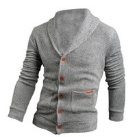Wholesale Mens Cardigan Sweaters Xl Black - Fall-IMC Sweater Lapel Mens Cardigan Sweater Black Fashion Long Sleeve Knitted Sweater Coat of Cultivate One's Morality 2pcs lot