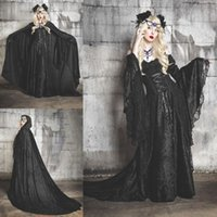 Wholesale Cosplay Victorian Dress Blue - Halloween Costumes Fancy Prom Dress Off Shoulder Vampires Devils Cosplay Costume Long Sleeve Custom Made Victorian Ball Gown