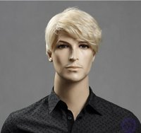 Wholesale Men Blonde Wig Hair - 2016 Hot Sale New Synthetic hign-temperature resistance fibre hair Wig For Man Free shipping BC-S07