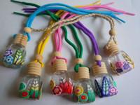 pequenas garrafas de barro venda por atacado-Frete grátis recipiente garrafa de argila Ploymer Lindamente Aromaterapia Pingente de Artesanato de Vidro Pequeno perfume garrafa, 100 pçs / lote