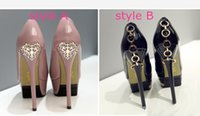 Wholesale Shoe Heel Rings - Chic metal ring hook back sexy high heels platform pumps women red white wedding shoes size 34 to 39