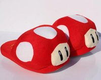 "Wholesale Mushroom Slippers - Hot sale Super Mario Bros Red Mushroom Plush Slippers Adult Indoor Warm Slipper 11""28cm Free shipping Retail"