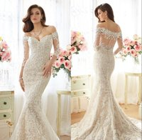 Wholesale Lace Back Detailed Mermaid Dress - Romantic Mermaid Wedding Dresses 2016 Sexy Off Shoulder Long Sleeves Court Train Beautiful Applique Lace Mermaid Bride Dresses Simple Style