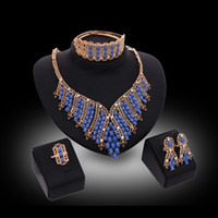 Wholesale Wedding Jewelry Sets Royal Blue - jewelry sets 2016 Luxury Royal Style Blue Beads Wedding Jewelry Sets 18K Gold Plated Party Jewelry 4-Piece Set Wholesale Drop Shipping JS080