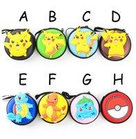 Wholesale Mini Pies - 8styles Poke mon Figures Mini Wallets Cartoon Round PU Coin Purses Zipper Pie Key Holder Bulbasaur Charmander Pikachu Bags XMAS Toys Gift