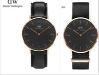 Wholesale Discount Waterproof Watches - 2017 Discount 40mm DW Watch fashion 30m waterproof rose gold silver nylon Strap Daniel Men Women Wellington Wristwatch