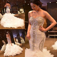 Wholesale Trumpet Feathered Wedding Dress - Vestido De Noiva Crystal White Mermaid Wedding Dresses Luxury Ostrich Feather Wedding Gowns Sexy Lace Bridal Dress 2016 Robe De Mariage