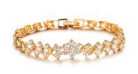Wholesale Luxury Accessories Bangles - Fashion Women's Bracelets 18K Real Gold Bracelets For Women Luxury White Stones Zirconia Wedding Jewelry Bangle Wholesale Accessories 429