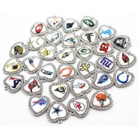 Wholesale Football Dangle Charm - 32pcs lot Mixs Football Crystal Heart Charms Print Glass Dangle Charms DIY Bracelet Necklace Jewelry Hanging Floating Charms