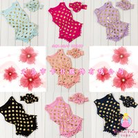 Wholesale girls wear jumpsuits resale online - Baby girl FOIL GOLD romper pokadot cartoon Rompers toddle clothing for Newborn Jumpsuits Baby Wear with headband E982
