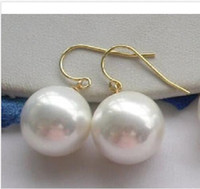 Wholesale Sea Earrings - 2016 HUGE 16MM WHITE ROUND AAA++ SOUTH SEA SHELL PEARL DANGLE EARRING 14K