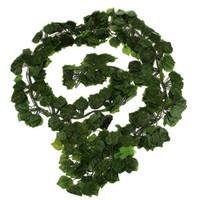 flores de follaje artificial al por mayor-12 Unids 6.5Ft Artificial Ivy Leaf Garland Plants Vine Fake Follaje Flores Para Home Garden Decoración de La Boda Hoja de Caña de Vid
