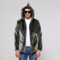 Wholesale Warm Villus - Black Hooded Warm Faux Mink Fur Coat Mens Leather Jacket Men Jaqueta De Couro Overcoat Villus Autumn Winter Thermal Outerwear