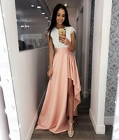 Wholesale Garduation Dresses - White Lace High Low Prom Dresses Short Sleeves Simple Cheap Evening Party Gowns Dress for Garduation