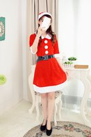 Wholesale Half One Costumes - Hot Selling For Women Christmas Santa Claus Half Pleuche Good Cosplay Theme Costume One Opp Bag Packing